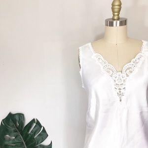 Vintage Fresh White Satin & Floral Lace Camisole